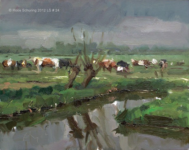 """Landscape spring #24 Willows ditch reflection and cows - Koeien"" original fine art by Roos Schuring"