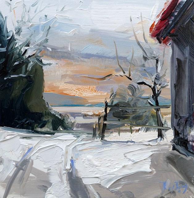 """""""Zum Pferdestall"""" original fine art by Jurij Frey"""