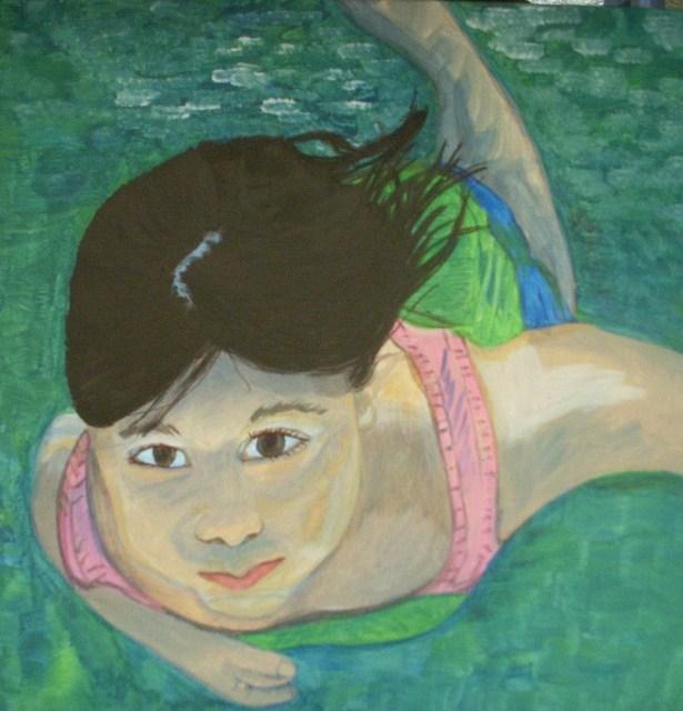 """Swimmer"" original fine art by Kathleen Carrier"