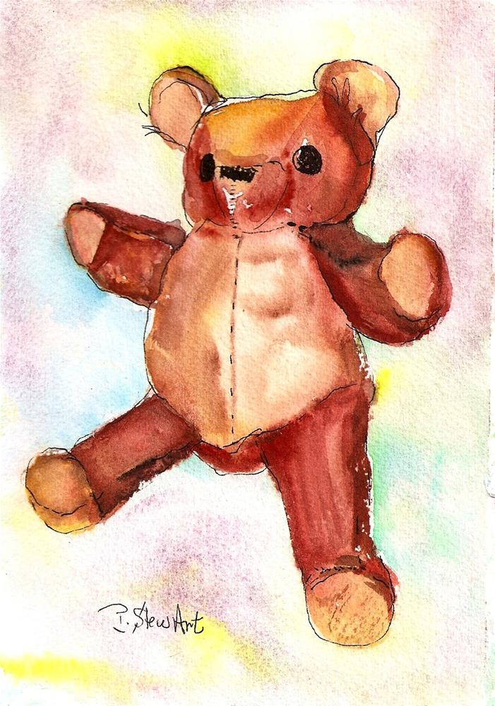 """""""5x7 Teddy Bear Painting Watercolor Original Stuffed Toy Art SFA Penny StewArt"""" original fine art by Penny Lee StewArt"""