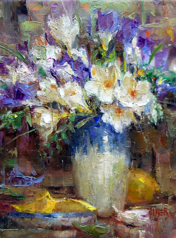 """""""Freesias and Lemons"""" original fine art by Julie Ford Oliver"""