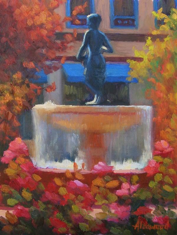 """Plaza Fountain"" original fine art by Sherri Aldawood"