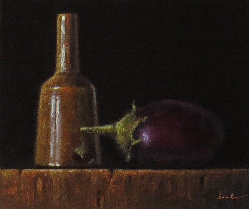 """Still Life with Amber Mallet Bottle and Baby Eggplant"" original fine art by Darla McDowell"