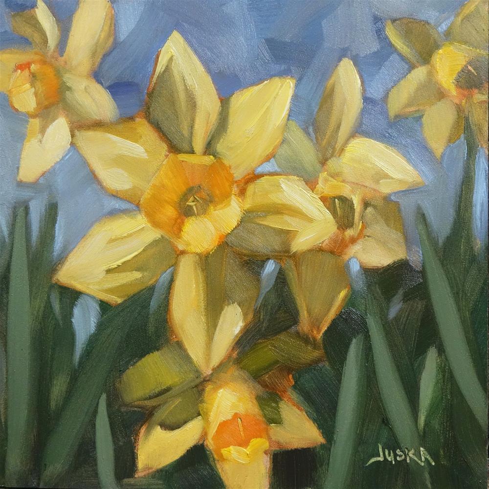 """Side Yard Daffodils"" original fine art by Elaine Juska Joseph"