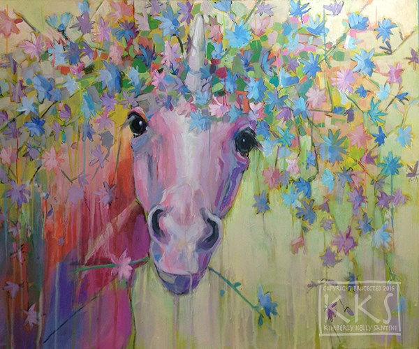 """(Uni)corn Flower III"" original fine art by Kimberly Santini"