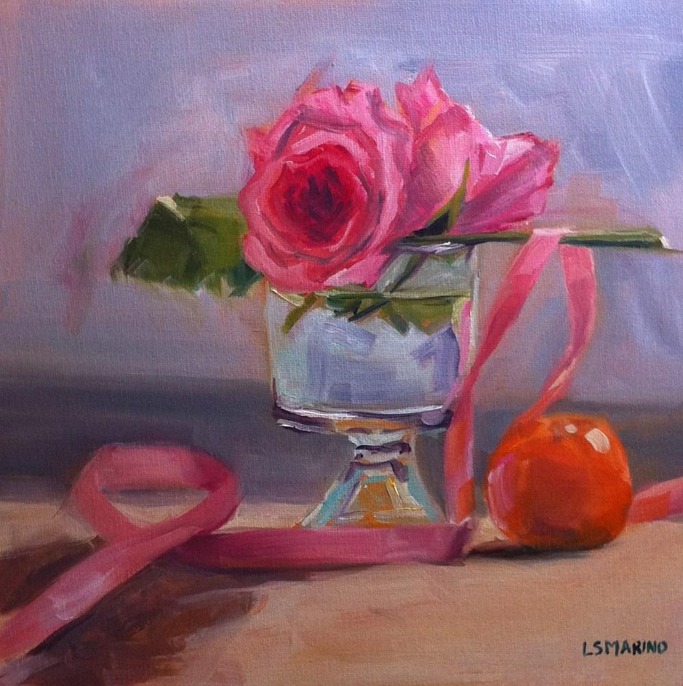 """""""Rose, Pink Ribbon and Orange"""" original fine art by Linda Marino"""