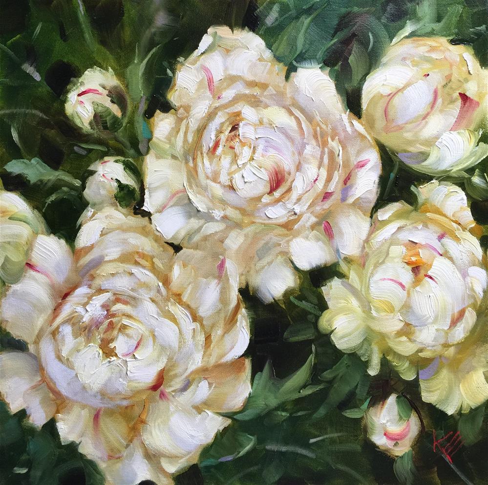 """White Peonies"" original fine art by Krista Eaton"