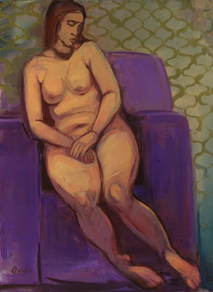 """Nude in Purple Chair"" original fine art by Angela Ooghe"