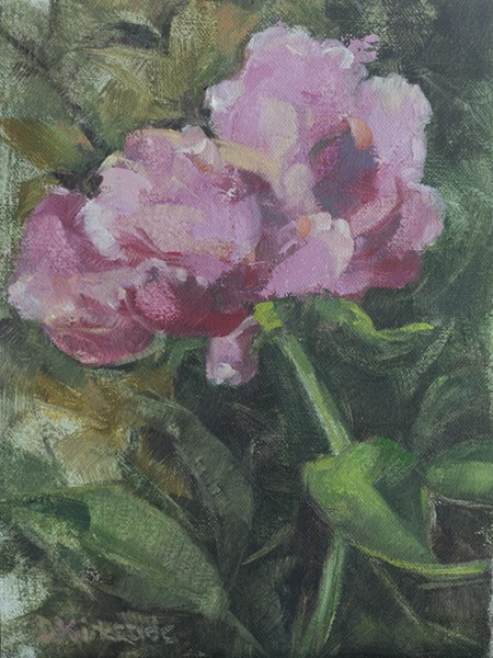 """Kristin's Peony - original floral oil painting of pink peony, by Deb Kirkeeide"" original fine art by Deb Kirkeeide"