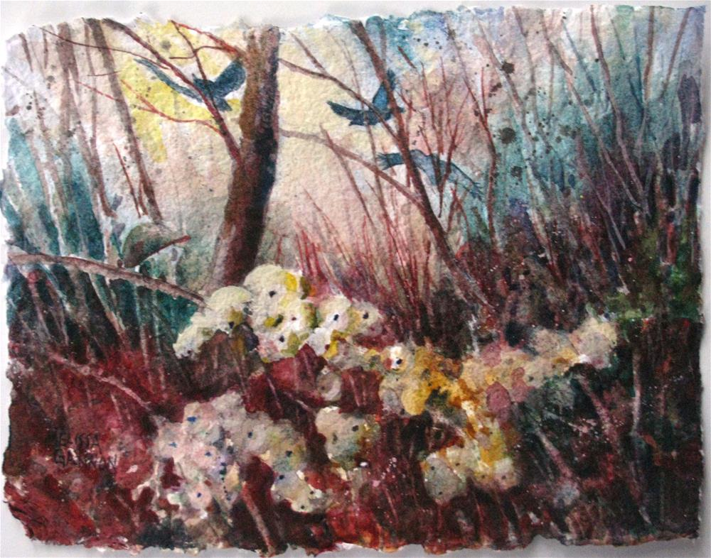 """Snowberries & Crows"" original fine art by Melissa Gannon"