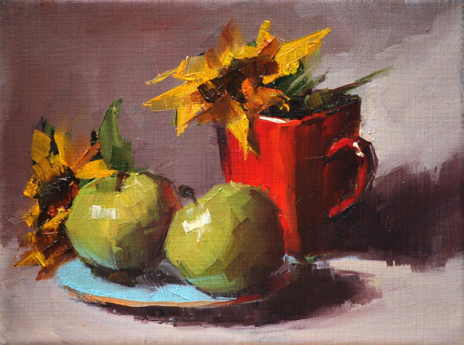 """sunflowers on a rainy day"" original fine art by Carol Carmichael"