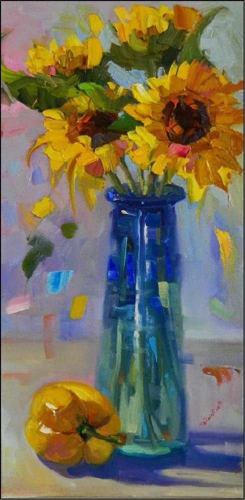 """Petal Dance, 10x20, oil on wrapped canvas, impressionism, impasto, palette knife florals, sunflowe"" original fine art by Maryanne Jacobsen"