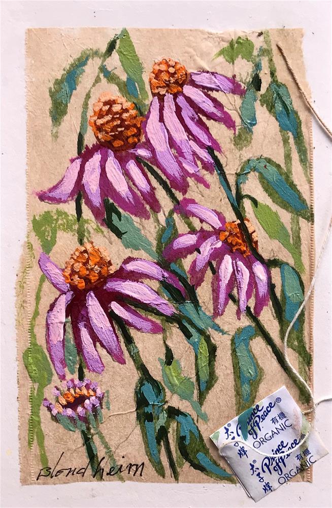 """Tea Bag Painting Cone Flowers"" original fine art by Linda Blondheim"