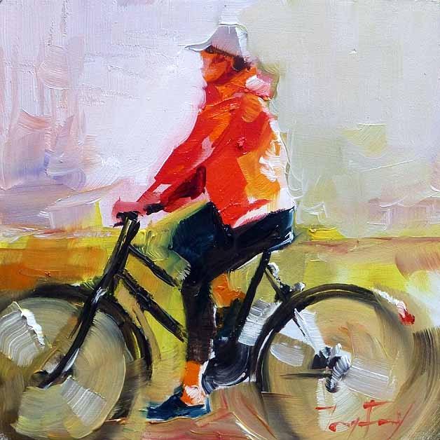 """Mit dem Rad..."" original fine art by Jurij Frey"