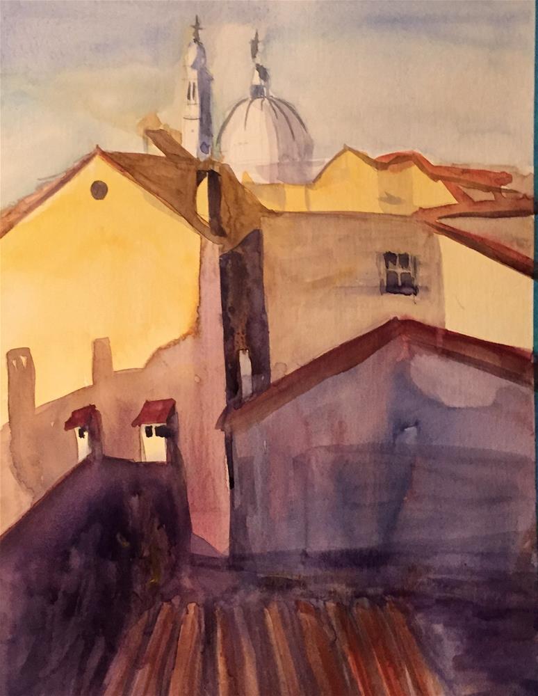 """Roofs"" original fine art by Natasha Ramras"