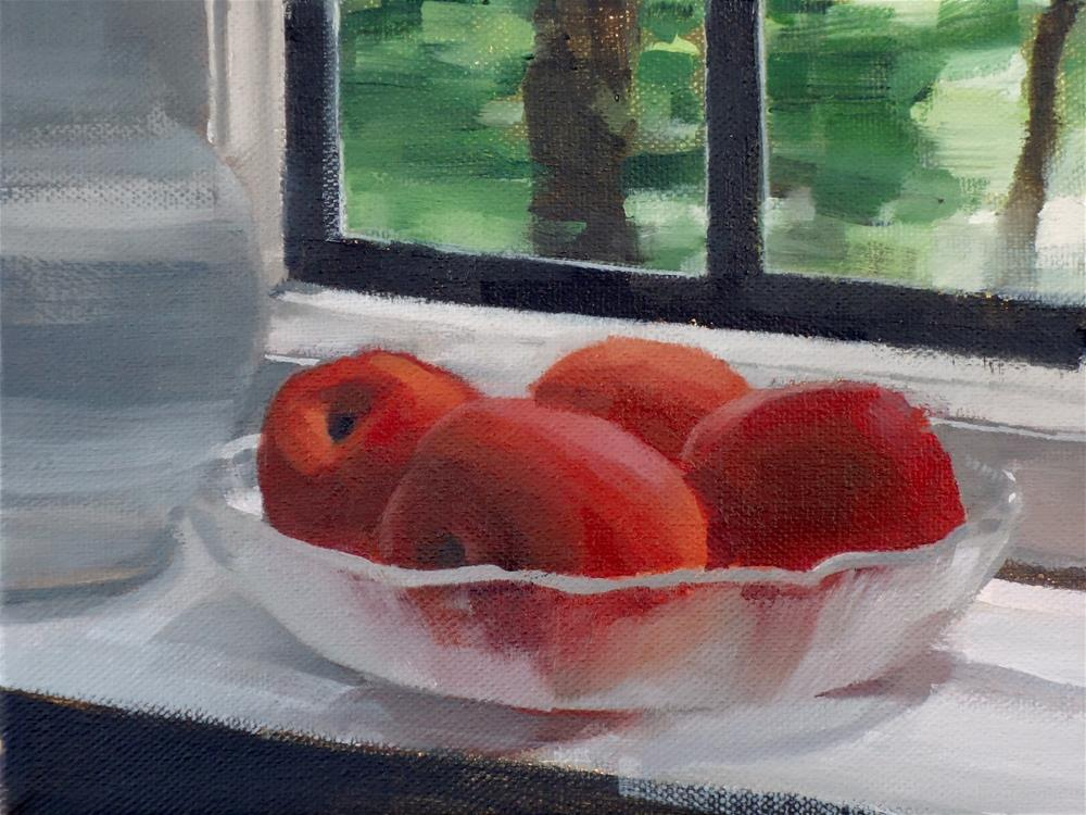"""Apricots on Sill (no.120)"" original fine art by Michael William"