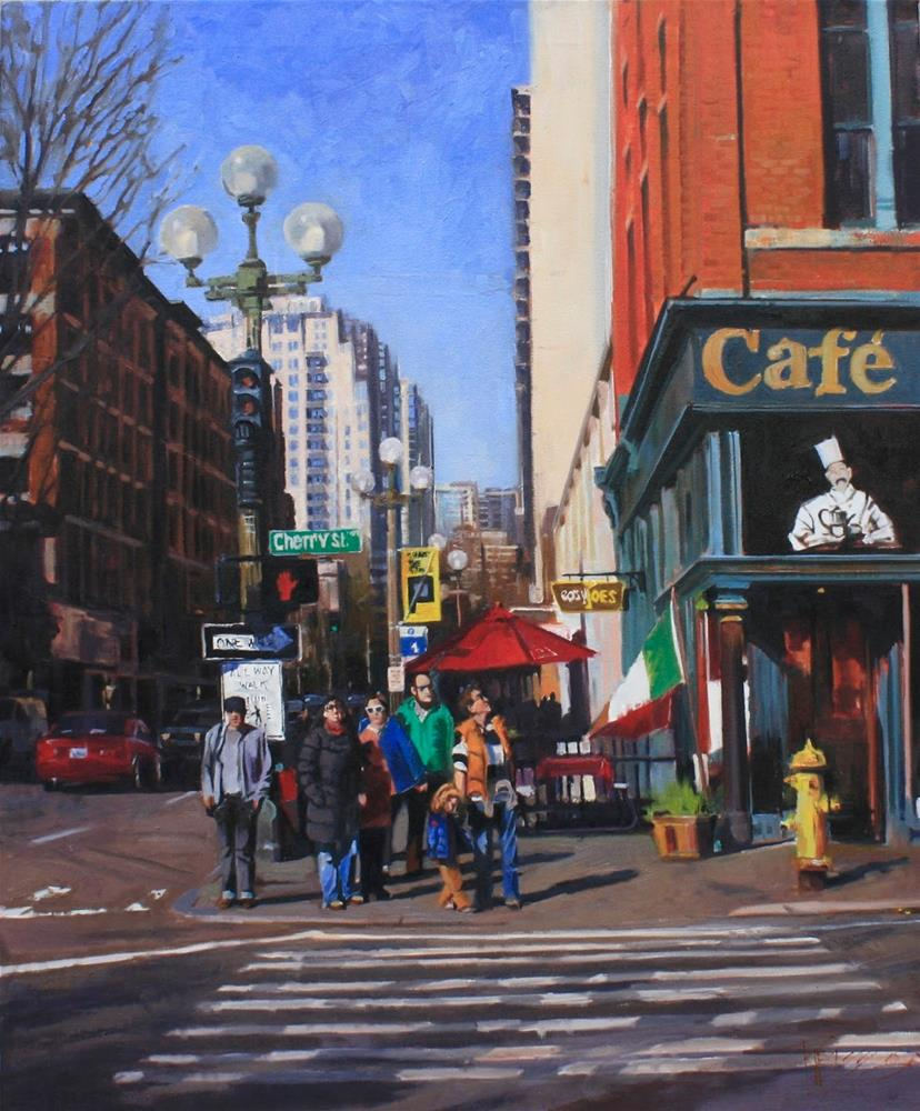 """""""Family Day Seattle city, oil painting by Robin Weiss"""" original fine art by Robin Weiss"""