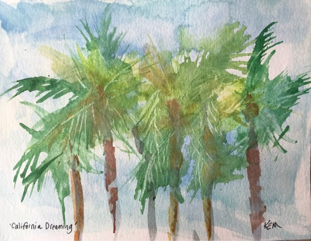 """Palm Tree Studies ... Focused Practice with Watercolors"" original fine art by Karen Margulis"