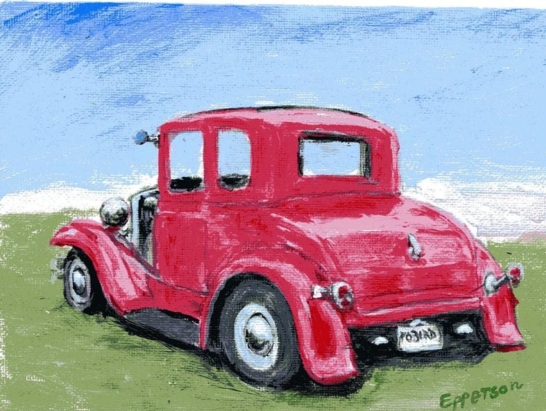 """""""Red Coupe"""" original fine art by Stanley Epperson"""