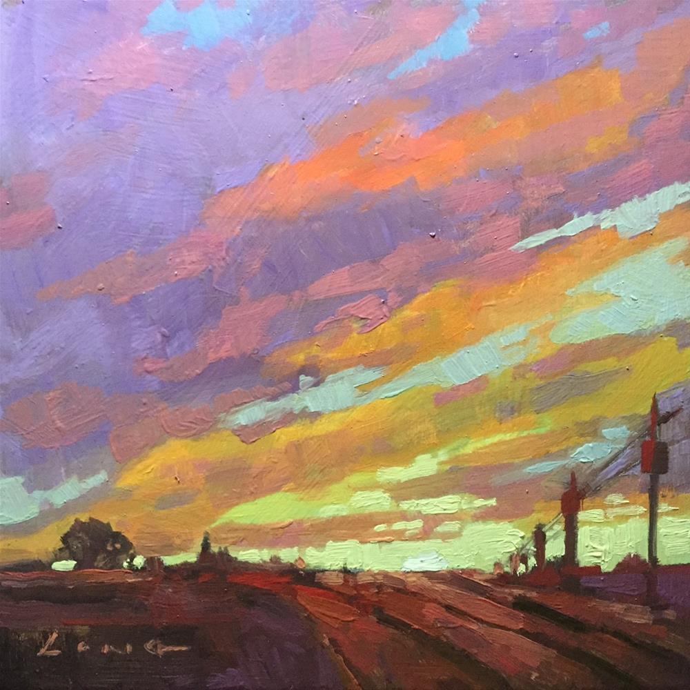 """Farm Evening"" original fine art by Chris Long"