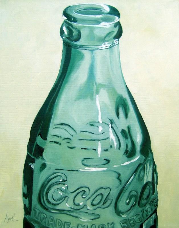 """Have a Coke - vintage Coca Cola bottle oil painting"" original fine art by Linda Apple"