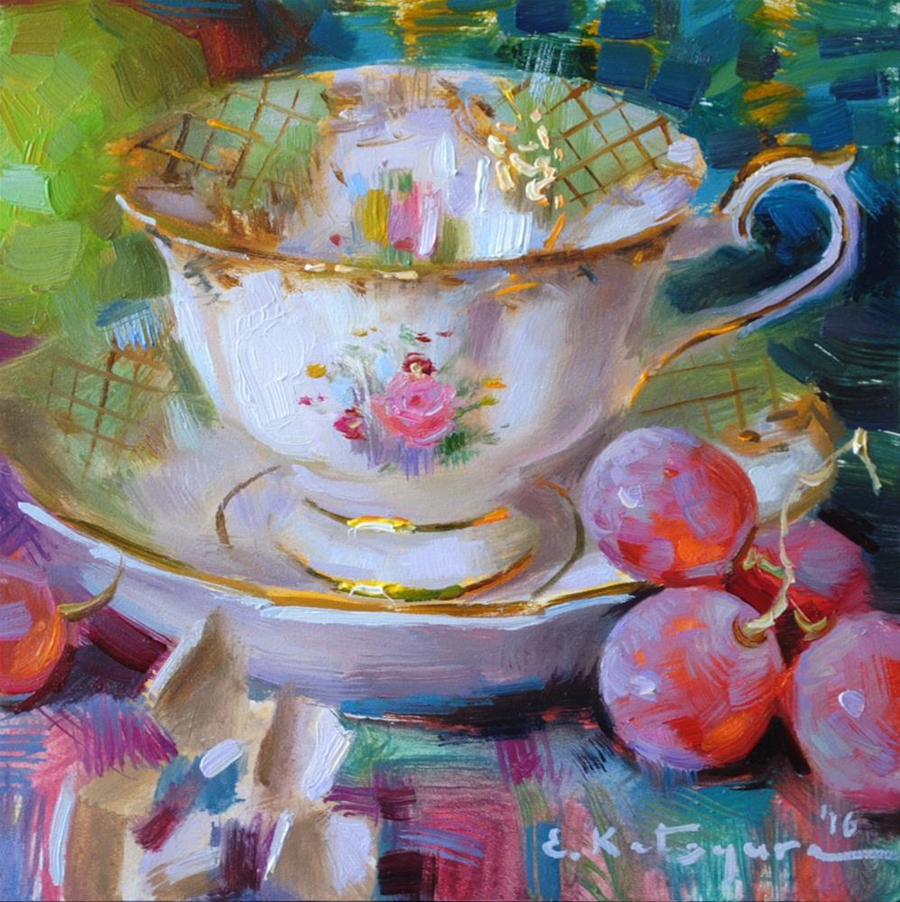 """Tuesday Teacup"" original fine art by Elena Katsyura"