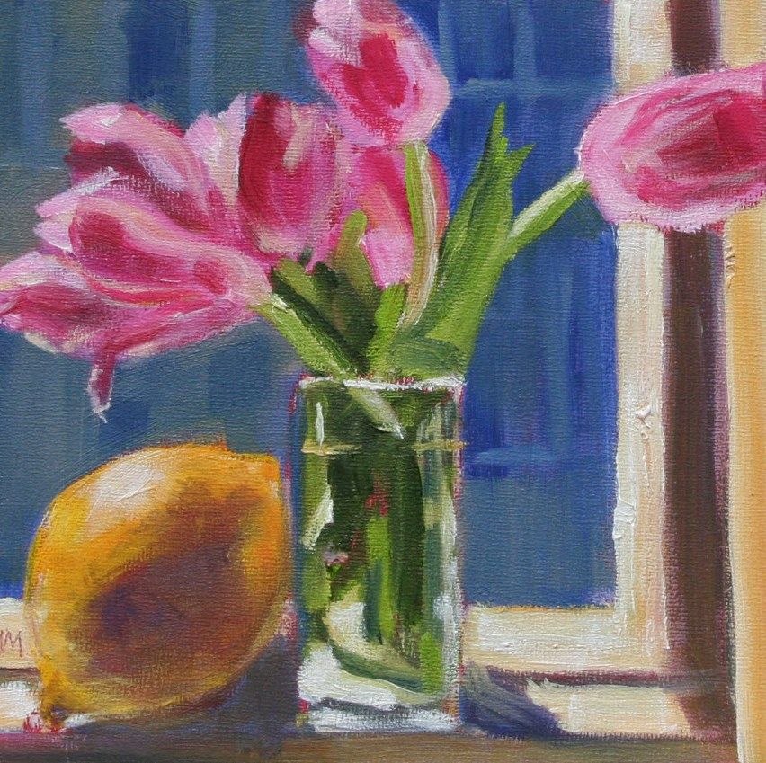 """Tulips and Lemon"" original fine art by Maria McNitt"