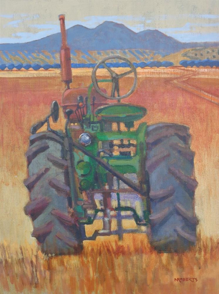 """Brentwood Tractor"" original fine art by Nancy Roberts"