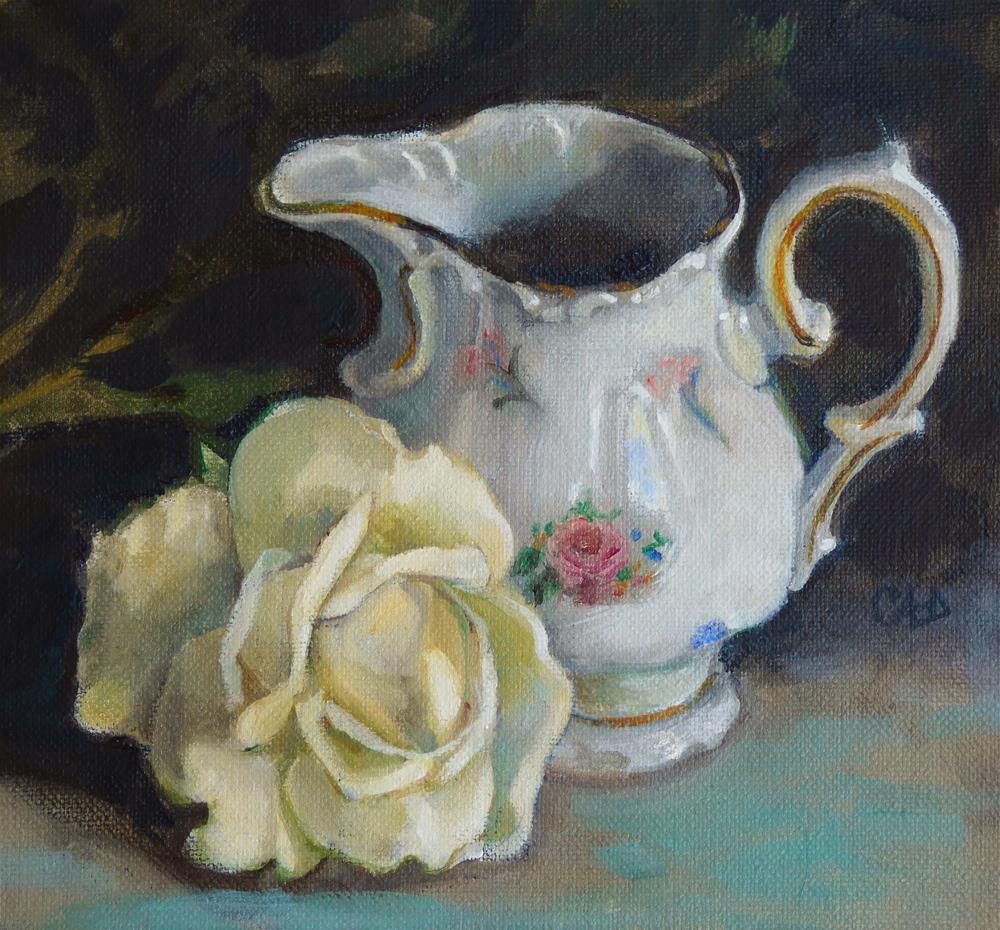 """Still Life w English Creamer"" original fine art by Christine Angelotta Dixon"