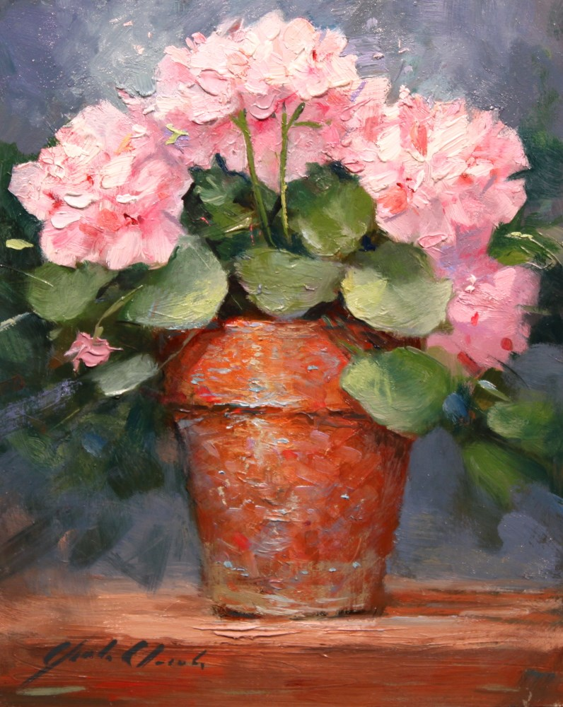 """""""Geraniums in a Clay Pot"""" original fine art by Justin Clements"""