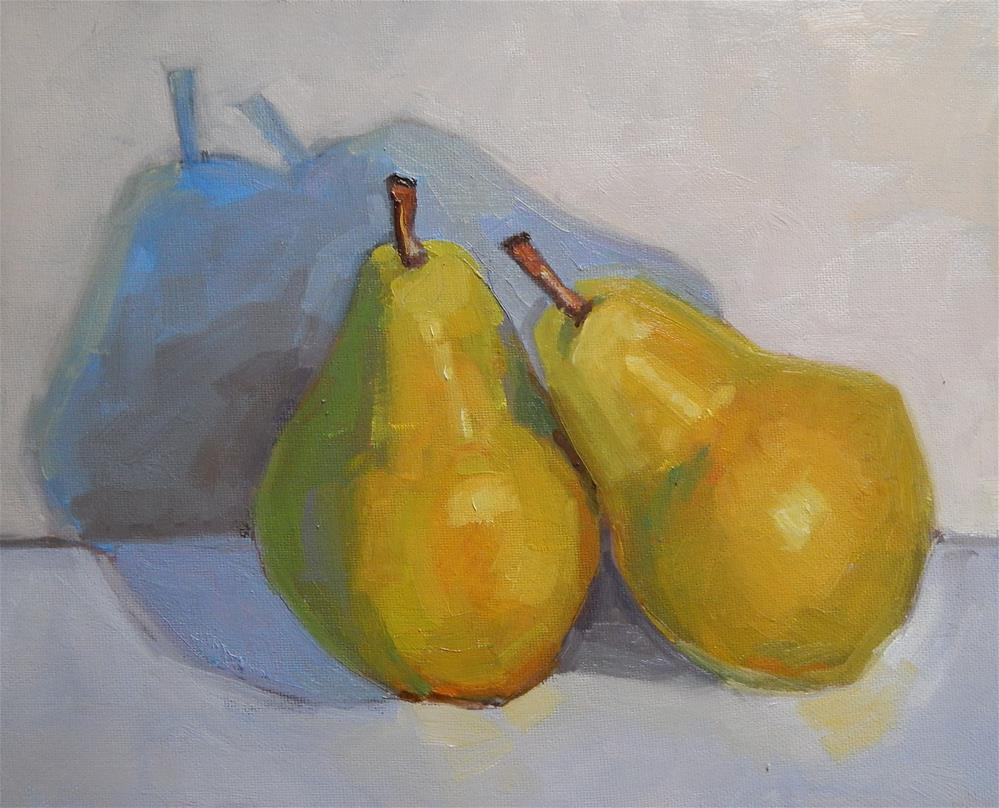 """""""Two Pears, Leaning"""" original fine art by Lisa Kyle"""
