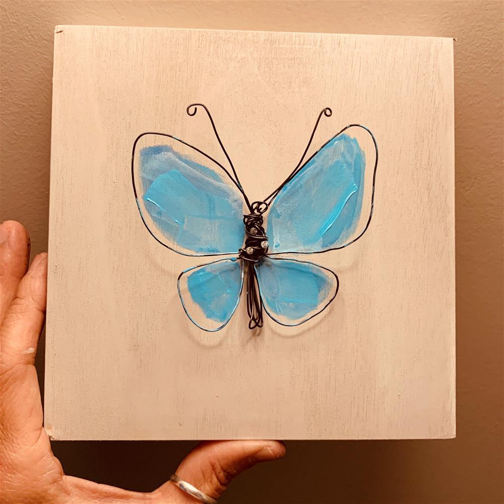 """""""821 The Butterfly is Blue"""" original fine art by Jenny Doh"""