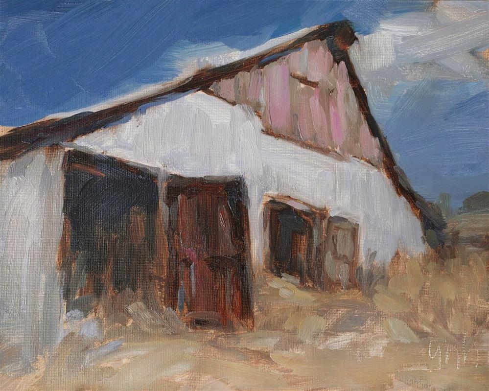 """Old Barn"" original fine art by Yuehua He"