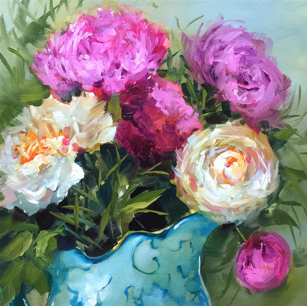 """Winter Bloomers Peonies - Nancy Medina Videos and Classes"" original fine art by Nancy Medina"