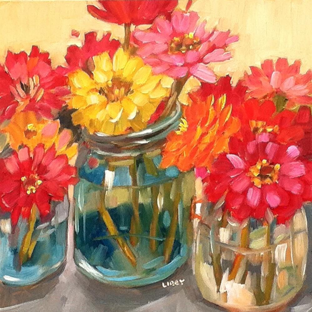 """August Zinnias"" original fine art by Libby Anderson"