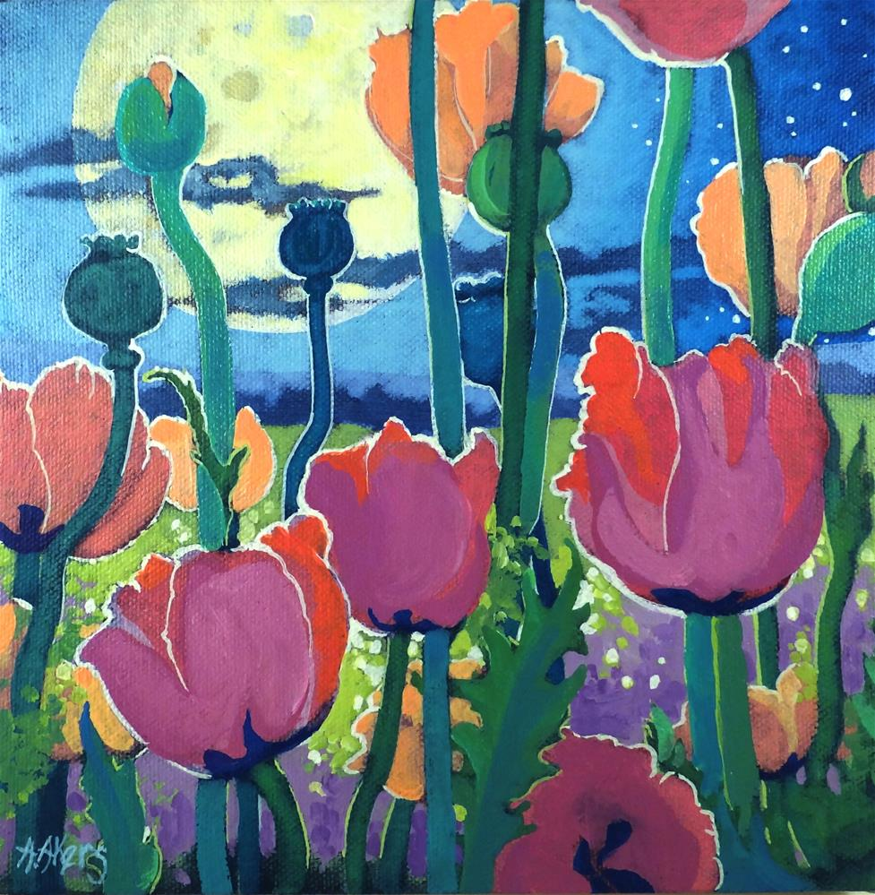 """Poppies Under the Moon"" original fine art by Alida Akers"