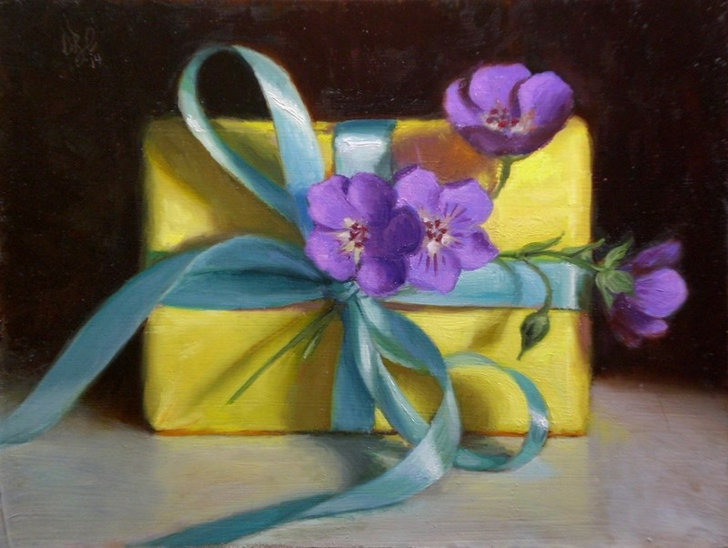 """Purple Flowers and Turquoise Ribbon on Yellow"" original fine art by Debra Becks Cooper"
