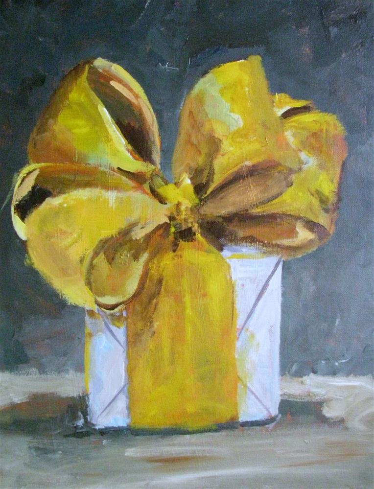 """Gold Bow"" original fine art by Susan Elizabeth Jones"
