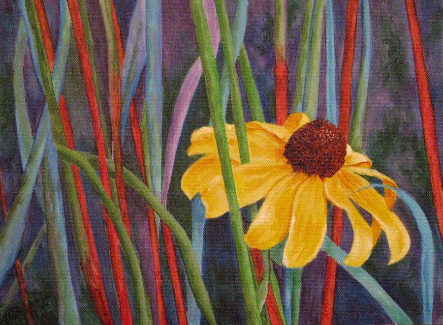 """""""Flower Among the Stalks"""" original fine art by Nan Johnson"""