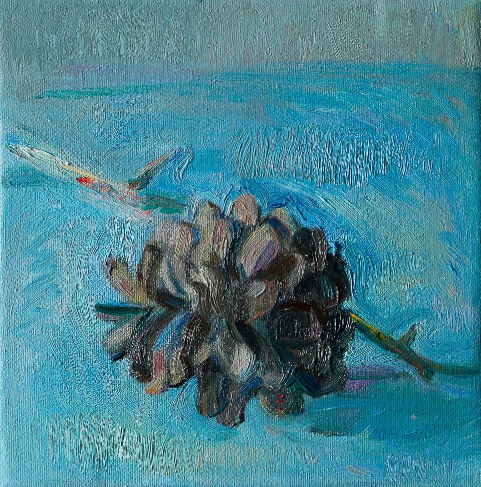 """Pinecone on Bright Blue"" original fine art by Anna Fine Art"