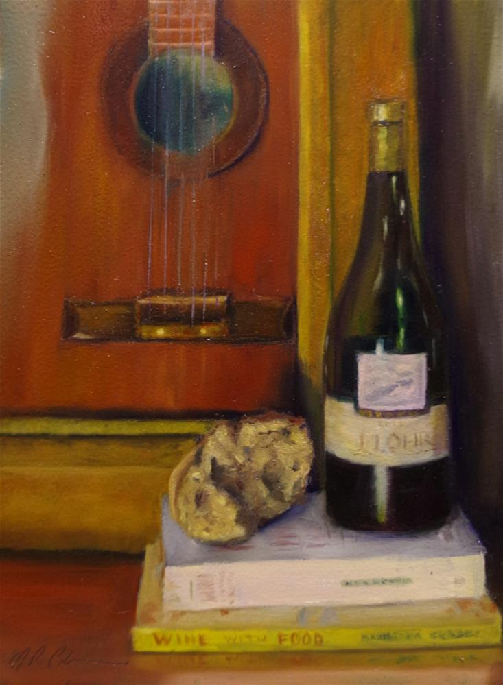 """Wine with Food and Music"" original fine art by Marilyn R. Place"
