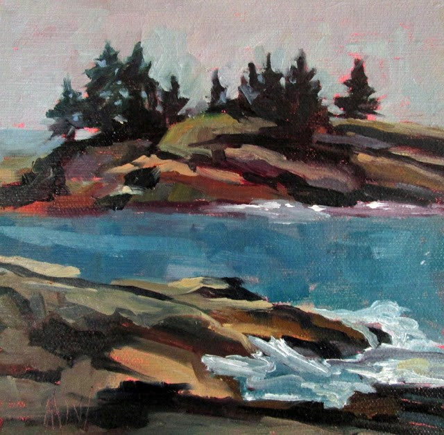 """""""Maine Rocks painted off the back shore of New Harbor."""" original fine art by Mary Sheehan Winn"""