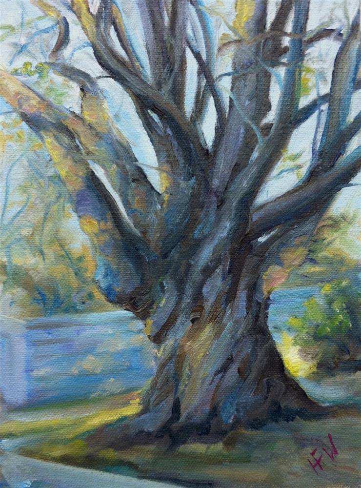 """The Oak on 2nd Street"" original fine art by H.F. Wallen"