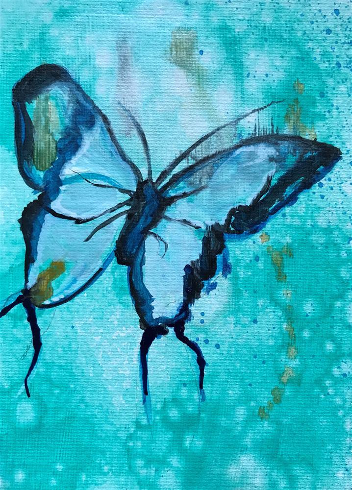 """""""Butterfly in Blue"""" original fine art by Kathleen Carrier"""