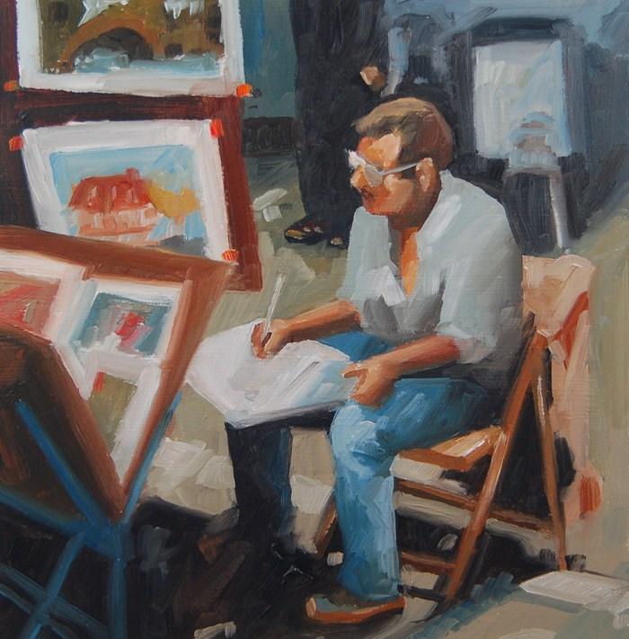 """""""No 456 Sidewalk Painter"""" original fine art by Robin J Mitchell"""