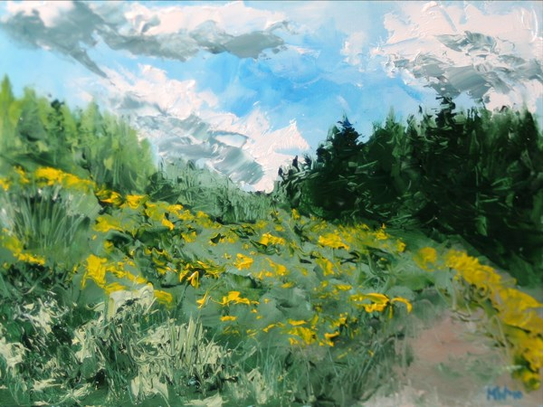 """""""Yellow Flower Field Palette Knife Oil Painting - County Clare, Ireland - by Northern California Arti"""" original fine art by Mark Webster"""