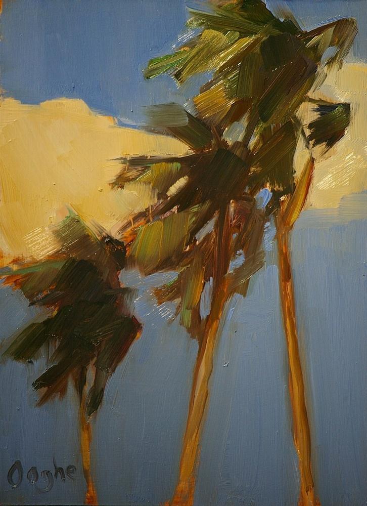 """Three Palm Trees"" original fine art by Angela Ooghe"