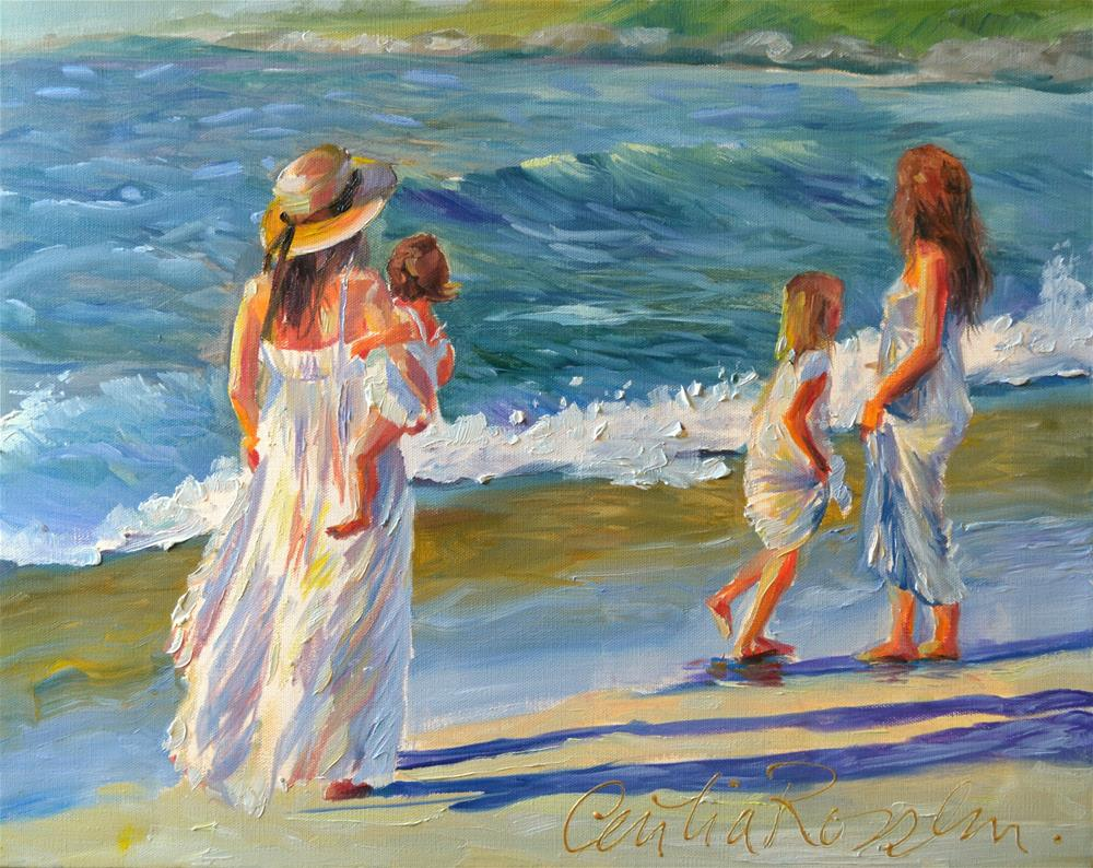 """""""STROLL AT SUNSET"""" original fine art by Cecilia Rosslee"""