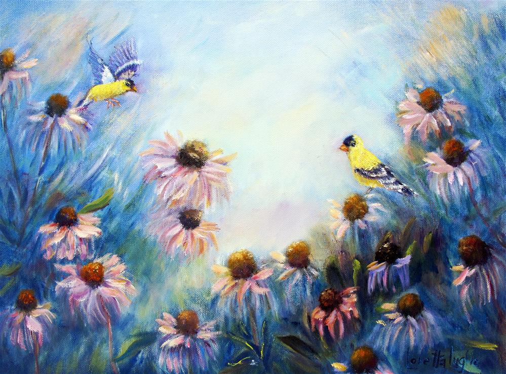 """""""Goldfinches and Coneflowers"""" original fine art by Loretta Luglio"""