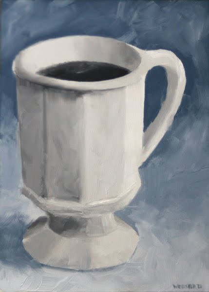 """""""Mark Webster - Coffee Cup Black and White Oil Painting 2.12.10"""" original fine art by Mark Webster"""